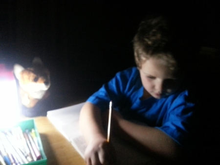 Sam and Little Fox during last week's power outage.